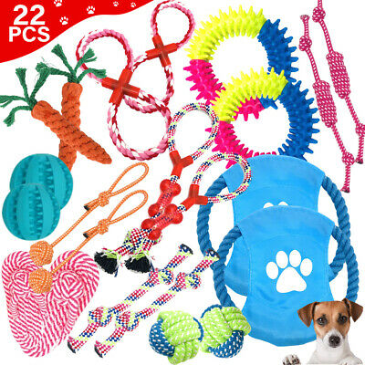 AU22.69 • Buy 22Pcs Pet Dog Rope Chew Toy Set Puppy Durable Cotton Toys Clean Teeth Bite Ball