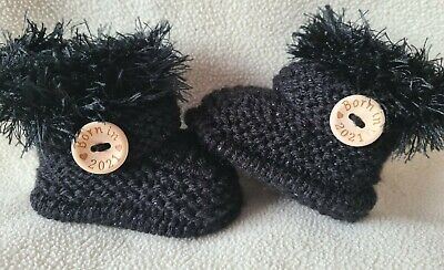 £5.99 • Buy New Baby  Booties  BORN IN 2021. 0-3Months  Hand Knitted Sparkle Black Fur