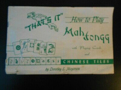 $4.99 • Buy Vtg2 Mah Jongg Books HOW TO PLAY Manual1979&1971  By Dorothy S. Meyerson Collect