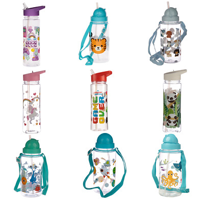 Reusable Drinking Water Bottle BPA Free Kids Childrens With Flip Straw • 7.95£