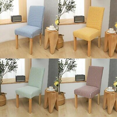 £4.99 • Buy Stripe Dining Chair Covers Washable Stretch Chair Slipcover Removable Cover
