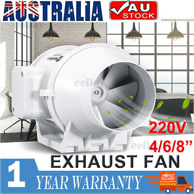 AU62.99 • Buy 4/6/8  Inch Silent Extractor Fan Duct Hydroponic Inline Exhaust Vent Industrial