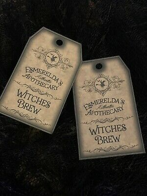 £2.99 • Buy Witches Brew Halloween Gift Tags Party Bags Vintage Cards Gothic Drink Me Bottle