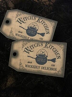 £2.99 • Buy Witches Kitchen Halloween Gift Tags Party Bags Vintage Cards Gothic Drink Me