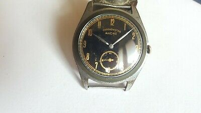 $ CDN97.43 • Buy VINTAGE Rare WWII Military Black Dial Watch Chronometer Ancre 15 Rubis 30's 40;s