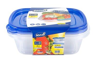 £4.99 • Buy 2pcs 750ml Food Storage Container Box With Lids Tupperware Plastic Strong Handy