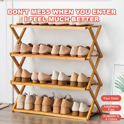 AU30.99 • Buy Shoe Rack Bamboo Bench 3 4 Tier Layers Storage Foldable Shelf Stand Organiser