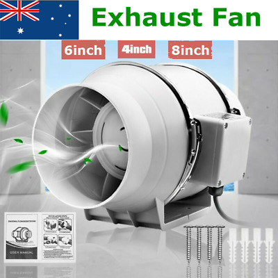 AU34.95 • Buy 4/6/8 Inch Silent Extractor Exhaust Fan Duct Hydroponic Inline Industrial Vent