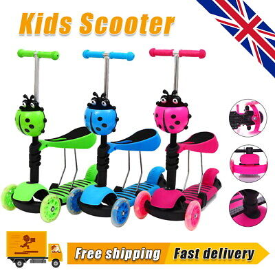 £18.99 • Buy 3 In 1 Toddler Child Kick Push Scooter Seat With LED Flashing Wheel For Kid Gift
