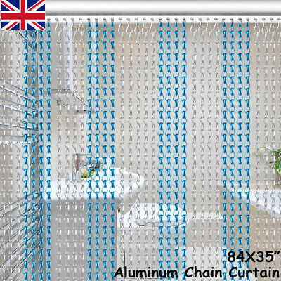 Aluminium Chain Metal Door Curtain Strip Fly Pest Insect Blinds Screen 214x90CM • 33.99£