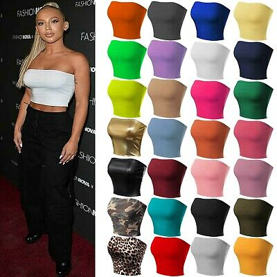 Womens Longline Sleeveless Crop Top Stretchy Solid Strapless Boobtube Tube Tops • 4.49£