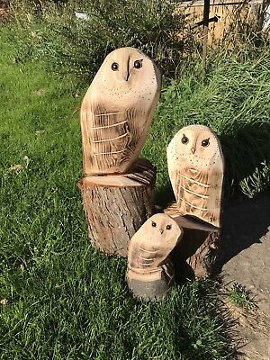 £40 • Buy 3x Owls (S M L)Chainsaw Carving Carved Owl Garden Decoration Natural Wooden