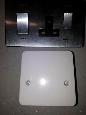 £9.99 • Buy Crabtree Flat Cooker Switch Socket & Neons  Brushed Chrome + Cooker Outlet Plate