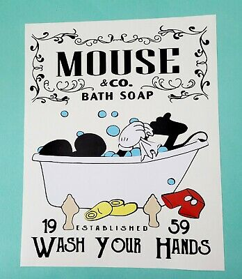 Mickey Mouse Bathroom Picture 10  X 8  Wash Your Hands  • 9£