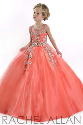 £218.22 • Buy Rachel Allan 1552 Perfect Angels Coral Orange Girls Pageant Ball Gown Sz 8 NWT
