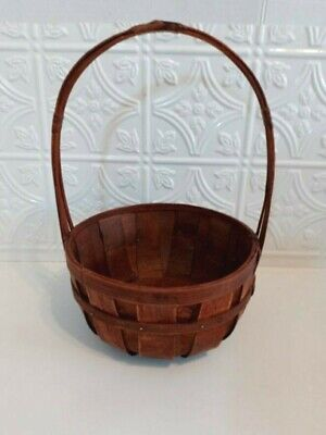 £5.07 • Buy Wicker Basket-Cherry Stained With Handle-Great As An Easter Egg Basket, Etc.