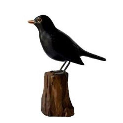 £15.99 • Buy Hand Carved Wooden Painted Blackbird On Tree Stump Garden Ornament Bird Carving