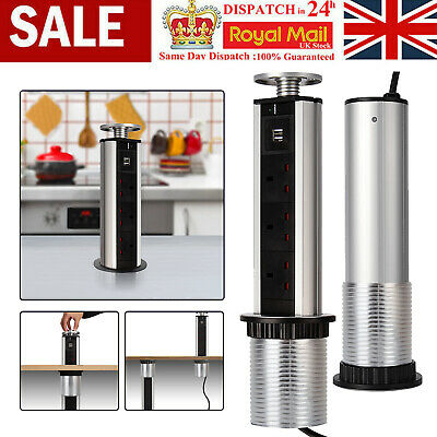 £22.59 • Buy 1.8M Pull Pop Up USB Electrical Socket Plug Kitchen Worktop Draw ExtensionChorme