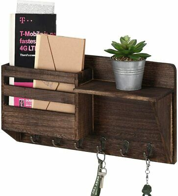 $17.99 • Buy Wall Mounted Mail Holder Wooden Mail Sorter Organizer With 6 Key/Bag Hooks US