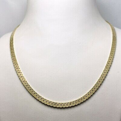 £821.82 • Buy 18  Solid 14k Yellow Gold Thick Herringbone Chain Necklace (9397)