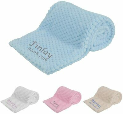 £12.95 • Buy Personalised Baby Blanket Embroidered Soft Breathable New Baby Gifts Present
