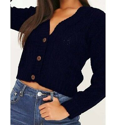 £6.50 • Buy Cropped Cardigan, Knitted Jacquard V-Neck Jumper Long Sleeve, Buttoned For Women