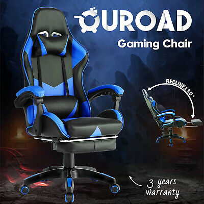 AU129.90 • Buy Computer Gaming Chair PU W/Footrest Racer Executive Office Recliner Seating Blue