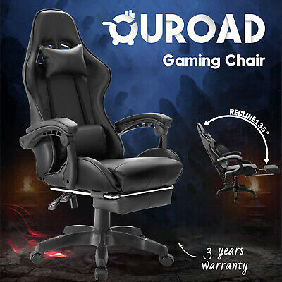 AU129.90 • Buy Executive Office Gaming Chair W/ Footrest Computer Racer Recliner Seating Black