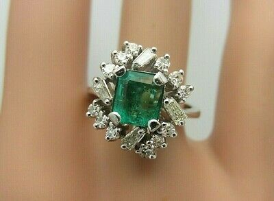 £895.52 • Buy Vintage 18K White Gold Colombian Emerald And Diamond Ring 1.40 Carats TW