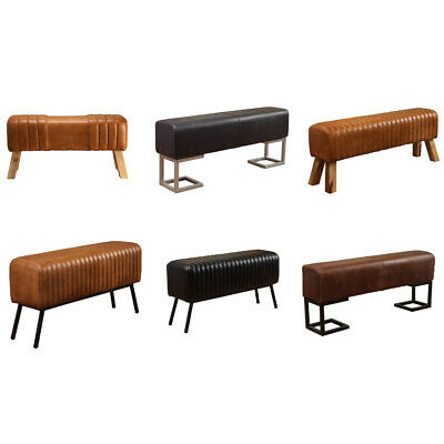 £109.95 • Buy Genuine Leather Handmade Ribbed Stitching Benches Iron & Wooden Legs