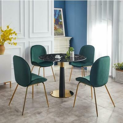 £179.99 • Buy Round Dining Table With Four Green Velvet Chairs Set Kitchen 4-seater Furniture