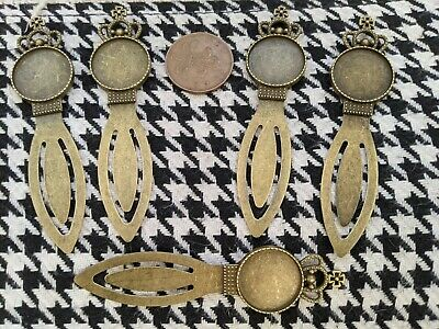 £4.99 • Buy 5X Antique Bronze Crown Bookmark 20mm Cabochon Base Cameo Setting Blank