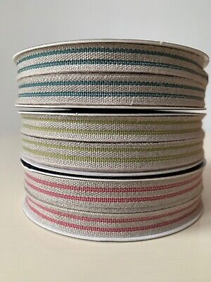 £1.80 • Buy French Linen Striped Trim Ribbon Rustic Wedding 11mm Wide  - Sold By The Metre