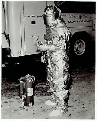 $15.88 • Buy 1959 Original Photo Mackinac Bridge Worker Shows Fire Protection Suit By MSA Co.