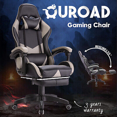 AU129.90 • Buy Computer Executive Gaming Racer PU Chair W/ Footrest Office Racing Seating Grey