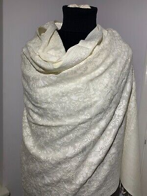 £52.99 • Buy Pashmina Shawl Scarf Wrap Stole Embroidered 100% Kashmir Wool OFF WHITE