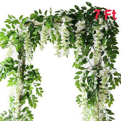 £8.89 • Buy 2X Artificial Wisteria Flower Vine Fake Flowers Ivy Plant Garland Green Leaves