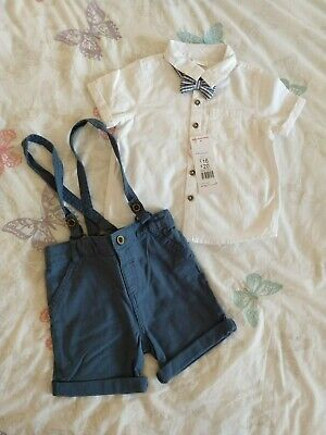 £14.99 • Buy F&F Baby Boy Outfit / Set - Shirt Bow Tie & Suspender Shorts 18-24 Months BNWT