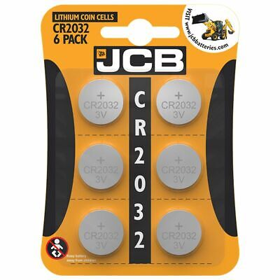£2.49 • Buy 6 X JCB CR2032 3V Lithium Battery Coin Cell Car Key Fobs Toys Remote Watch