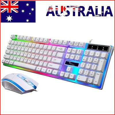 AU20.59 • Buy Wired Gaming Keyboard & Mouse Set Wired Mechanical Feeling Rainbow LED Backlit