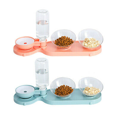 Dog Feeder Bowls Pet Cat Double Food Feeding Bowl Kit With Water Dispenser • 11.37£