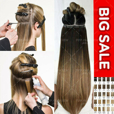 Tape-In Russian 8A Remy Human Hair Extensions FULL HEAD HIGHLIGHT 40PCS 24  G156 • 20.42£