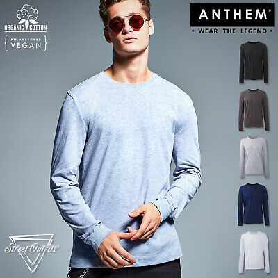 Mens Luxury Organic Cotton T-Shirt Anthem Crew Neck Ringspun Long Sleeve Top • 8.57£