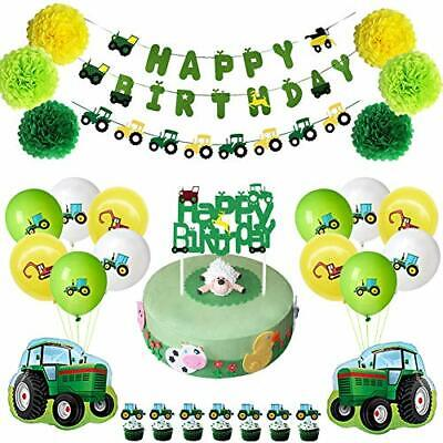 AU39.82 • Buy Farm Green Tractor Themed Party Supplies Decoration For Kid Birthday Baby Shower