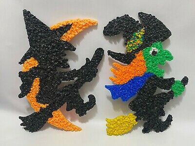 $ CDN54.75 • Buy Vintage Halloween Melted Popcorn Witch On Broomstick & Moon Decorations 19