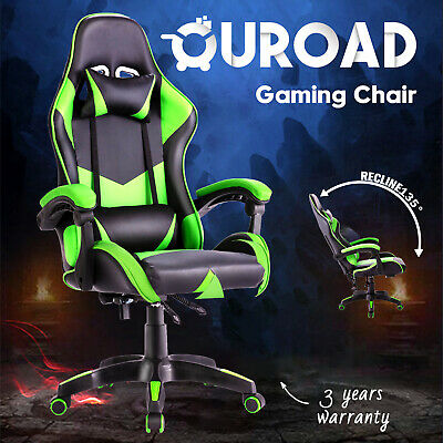 AU125.90 • Buy Computer Gaming Executive Office Chair Recliner Racer PU Leather Seating Green