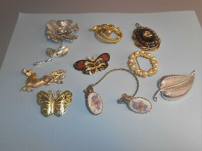 $ CDN23.80 • Buy INTERESTING VINTAGE PIN LOT HORSE FLOWER MORE BFLY Estate Jewelry Lot 119