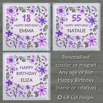 £3.29 • Buy Personalised Flower Coaster Or Magnet Any Age & Name Birthday Gift Purple