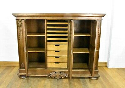 AU516.84 • Buy Antique Large Carved Triple Door Bookcase - Linen Cupboard - Side Cabinet