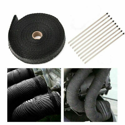 $25.99 • Buy 4/5  50Ft Roll Fiberglass Exhaust Header Pipe Heat Wrap Tape Black +10 Ties F1